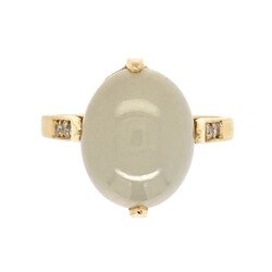 Closeup photo of 18K Yellow Gold 7.17ct Cabochon Moonstone & .07tcw Diamond Ring