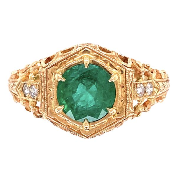 Closeup photo of 14K Yellow Gold Filigree Antique Ring 1.05ct Round Emerald & .06tcw diamonds, s6.5