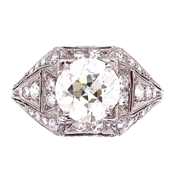 Closeup photo of Platinum Art Deco 1.91 OEC Diamond Ring with .65tcw diamonds, milgrain, filigree & engraving
