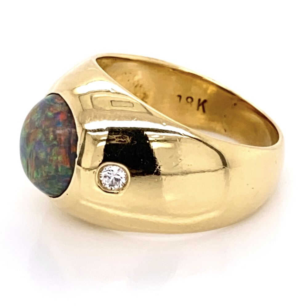 Image 2 for 18K Yellow Gold 2.25ct Black Australian Opal & .16ctw diamond Ring
