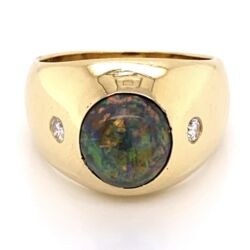 Closeup photo of 18K Yellow Gold 2.25ct Black Australian Opal & .16ctw diamond Ring