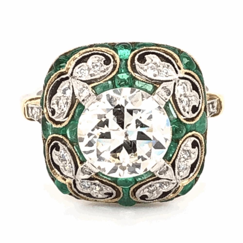 Platinum & 18K Yellow Gold Art Deco 2.01ct OEC, .70tcw Emeralds & .26 side Diamond Ring, 5.5