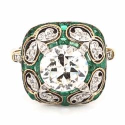 Closeup photo of Platinum & 18K Yellow Gold Art Deco 2.01ct OEC, .70tcw Emeralds & .26 side Diamond Ring, 5.5