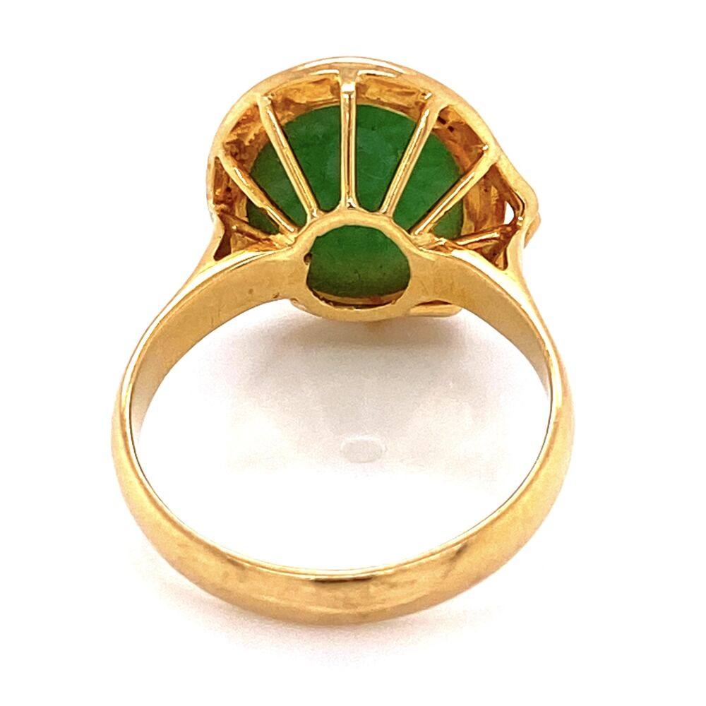 Image 2 for 18K Yellow Gold Jadeite Jade Ring 7.2g, s7