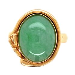 Closeup photo of 18K Yellow Gold Jadeite Jade Ring 7.2g, s7