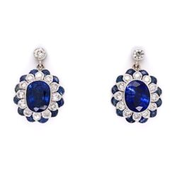 """Closeup photo of 18K White Gold 2 Sapphire 3.33tcw Earrings with .55tcw Diamonds & 1.15tw Sapphires 5/8"""" tall"""