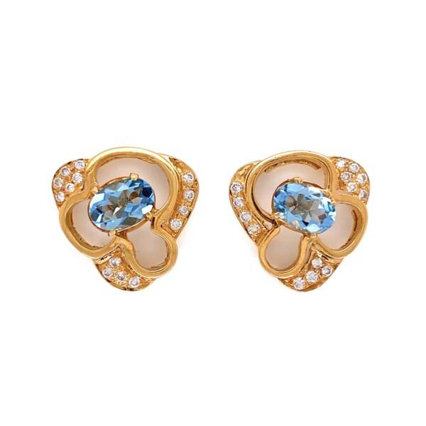 Closeup photo of 14K Yellow Gold Oval .90tcw Oval Aquamarine & .25tcw Diamond Earrings 5.3g