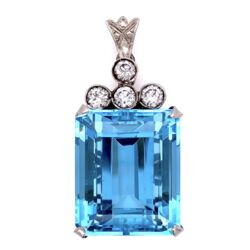 Closeup photo of Platinum 1950's Aquamarine Pendant with Diamonds