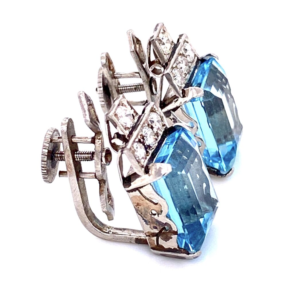 "Image 2 for Platinum 1950's 8.00cw Aquamarine Earrings .50tcw diamonds 8.0g, 0.8"" tall"