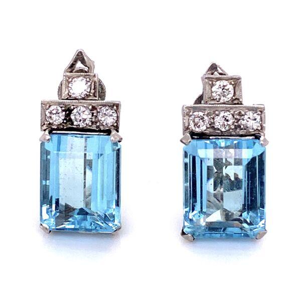 "Closeup photo of Platinum 1950's 8.00cw Aquamarine Earrings .50tcw diamonds 8.0g, 0.8"" tall"