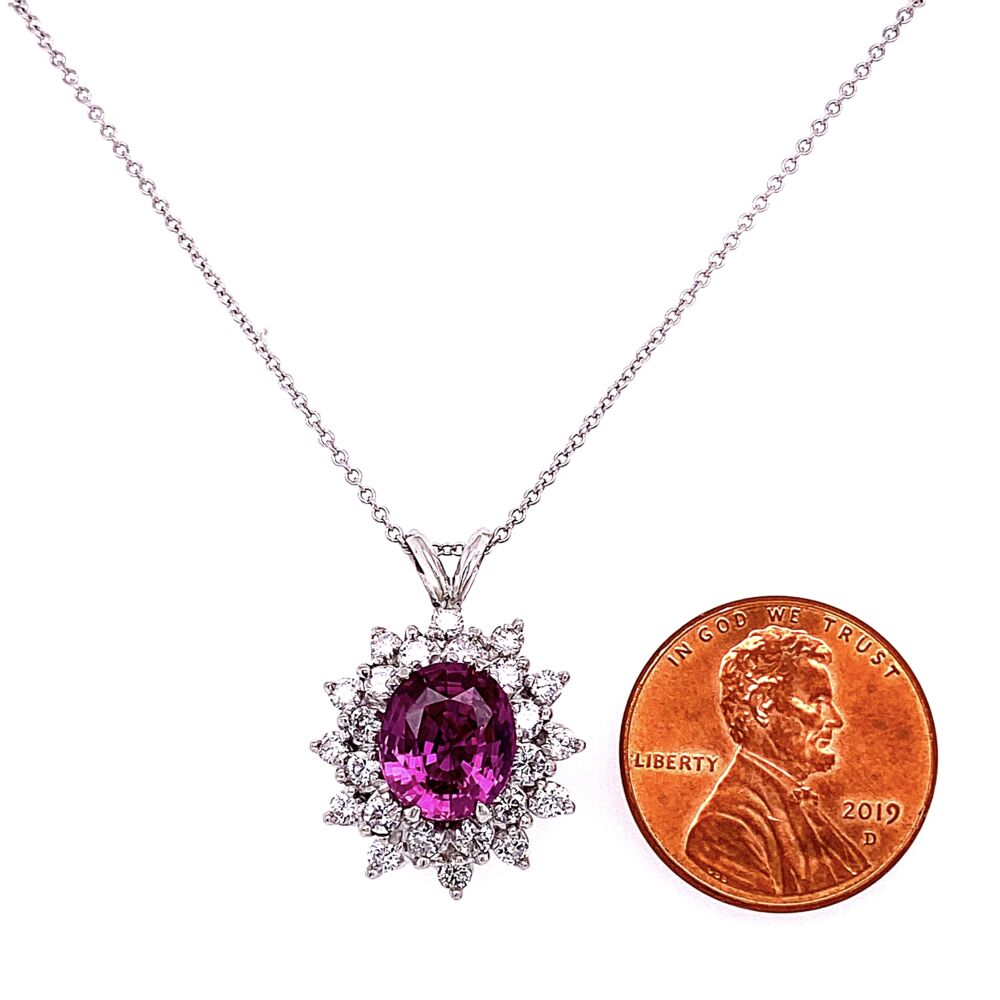 "Image 2 for Platinum 3.02ct Pink Sapphire & 1.45tcw Diamonds Pendant Necklace 18K WG 18"" Chain"