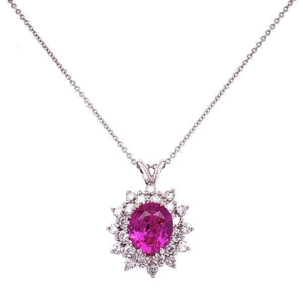 "Closeup photo of Platinum 3.02ct Pink Sapphire & 1.45tcw Diamonds Pendant Necklace 18K WG 18"" Chain"