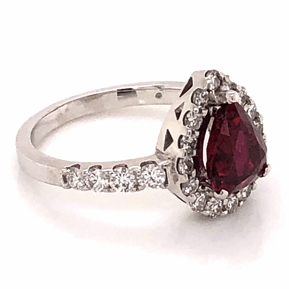 Image 6 for Platinum 1.64ct Pear shape Ruby and .80tcw diamond Ring c1950 s6.75