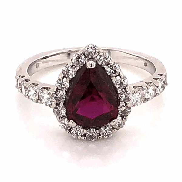 Closeup photo of Platinum 1.64ct Pear shape Ruby and .80tcw diamond Ring c1950 s6.75