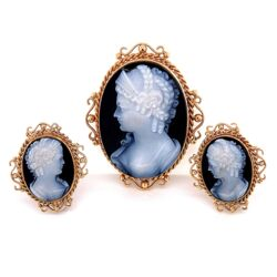 Closeup photo of 14K Yellow Gold Victorian Revival Onyx Cameo Earrings & Pendant/Brooch Set 15.7g