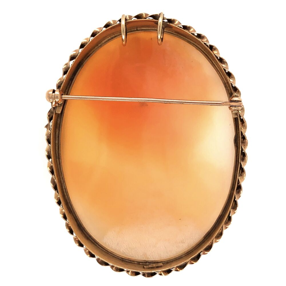 Image 2 for 14K Yellow Gold Victorian Shell Cameo Brooch/Pendant