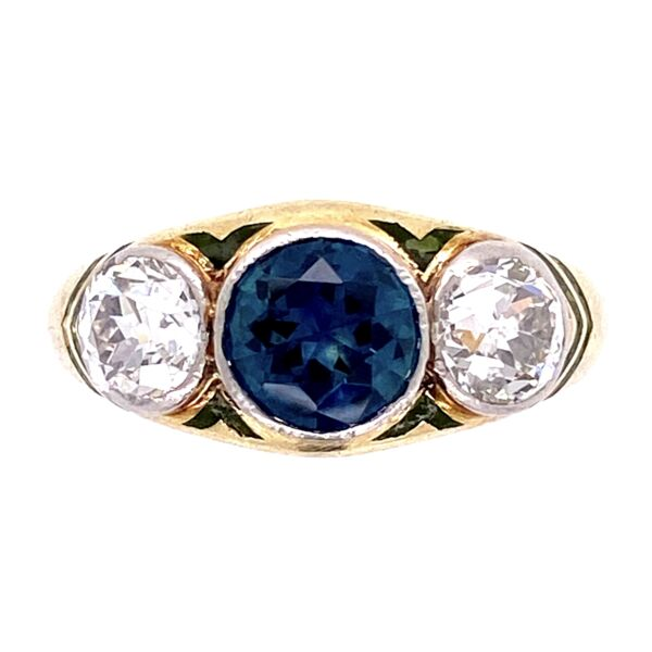Closeup photo of 14K Yellow Gold ARTS & CRAFTS 3 stone Ring, 1ct Sapphire, 2 OEC 1tcw , s5.5