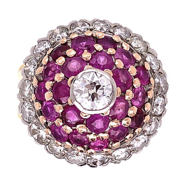 Closeup photo of 18K Yellow Gold Palladium Topped Bombay Ring 1.50tcw Diamonds & 1.20tcw Rubies, s6.75
