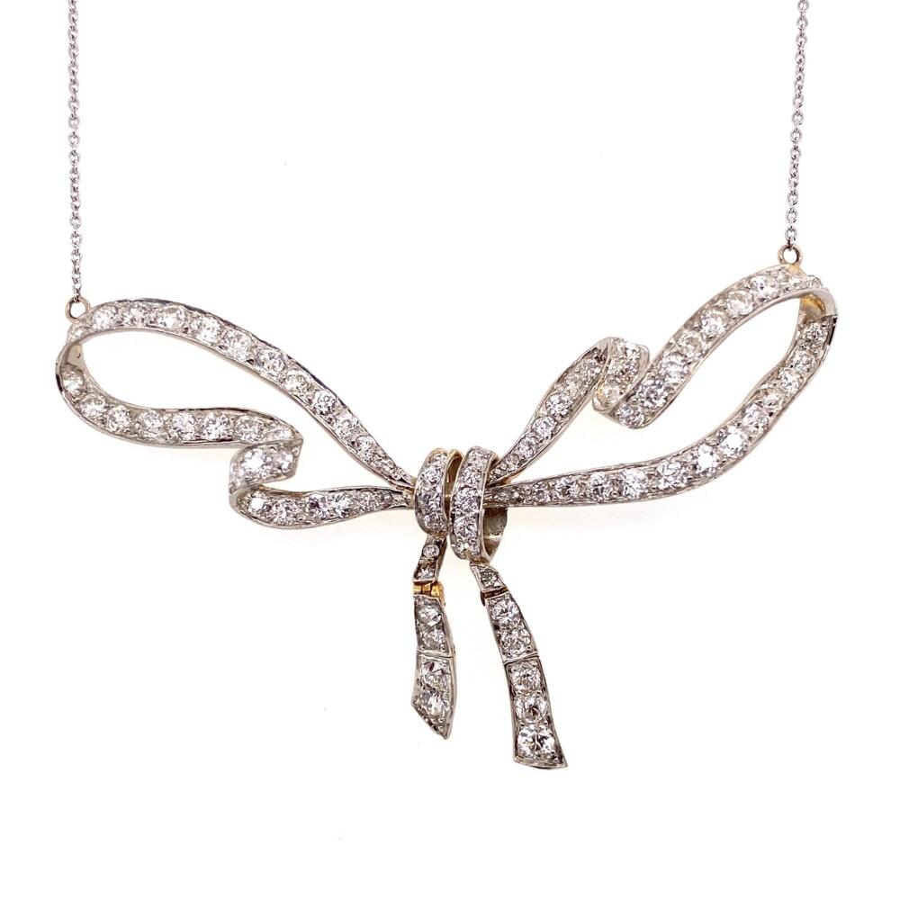 """Platinum on 18K Edwardian 3.70tcw Diamond Bow Necklace 18"""" Chain, c1900's"""