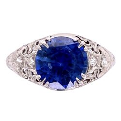Closeup photo of Platinum Art Deco 2.64ct Round Sapphire & .10tcw diamond Ring c1920, s6.5