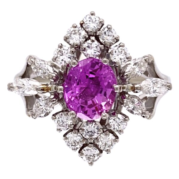 Closeup photo of 18K White Gold 1.25ct Pink Sapphire & .90tcw diamond Ring c1960's, s6