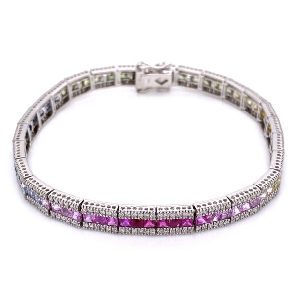 Closeup photo of 14K White Gold Line Bracelet, multi-color sapphires 8tcw & diamonds 2.20tcw 7.25""
