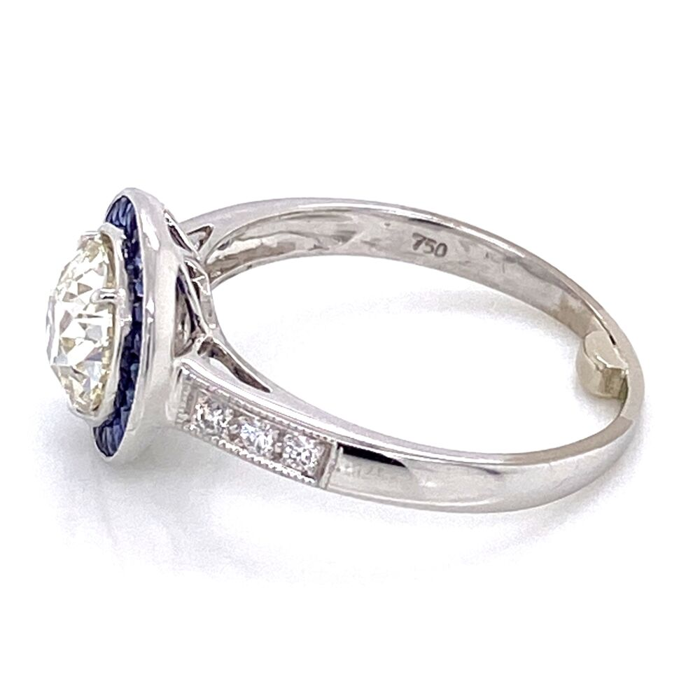 Image 2 for 18K White Gold Art Deco 1.36ct OEC Diamond, .35tcw sapphire halo & .10tcw side diamonds s7