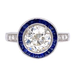 Closeup photo of Art Deco OEC Diamond Ring w/ Sapphire Halo