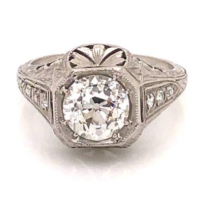 Closeup photo of Platinum Art Deco 1.51ct OEC Diamond Ring .06tcw sides, engraving, s6