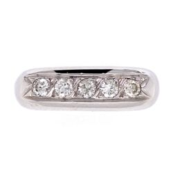 Closeup photo of 18K White Gold Dome 5 Diamond Band Ring .35tcw Euro Shank, 4.6g, s6.5