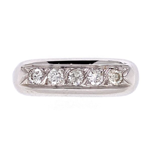 Closeup photo of 18K White Gold Dome 5 Diamond Band Ring .35tcw Euro Shank, 4.6g, s6.5