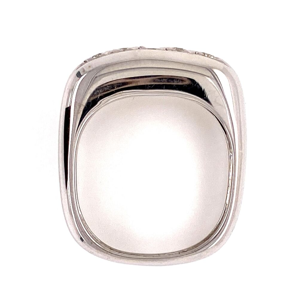 Image 2 for 18K White Gold Dome 5 Diamond Band Ring .35tcw Euro Shank, 4.6g, s6.5