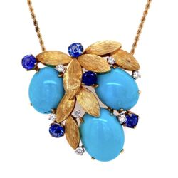 """Closeup photo of 18K Yellow Gold Natural Turquoise, 2.40tcw Sapphires & .60tcw diamond Necklace c1960's, 27.4g, 24"""" Rope Chain"""