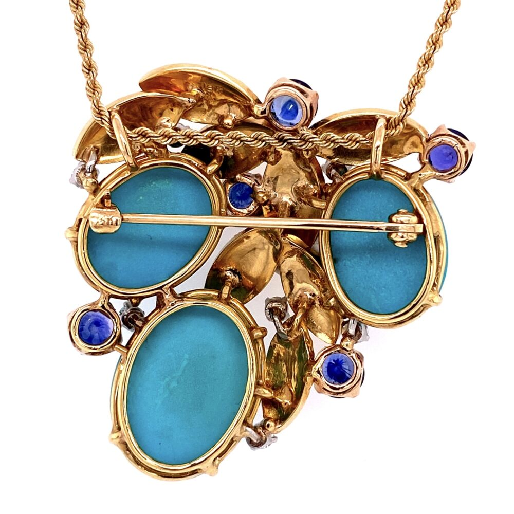 """Image 2 for 18K Yellow Gold Natural Turquoise, 2.40tcw Sapphires & .60tcw diamond Necklace c1960's, 27.4g, 24"""" Rope Chain"""