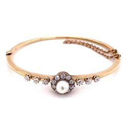 Closeup photo of 14K Yellow Gold Victorian Natural Pearl & 1.40tcw Diamond Bangle Bracelet 14.6g