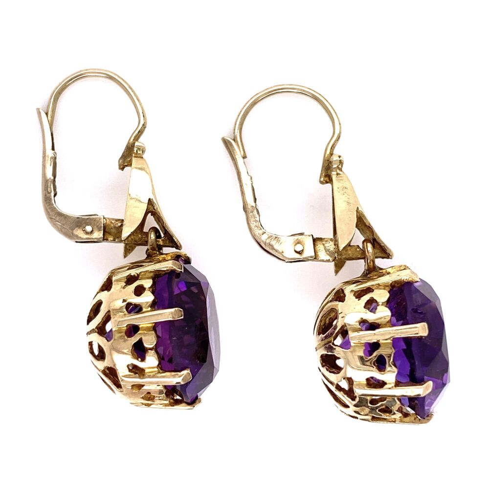 Image 2 for 14K Yellow Gold Vintage 1960's Amethyst Drop Basket Earrings 10tcw, 6.6g