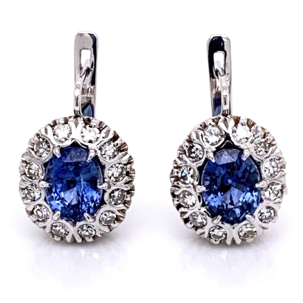 "18K White Gold 3.20tcw Sapphire & .80tcw Diamond ""Princess Diana"" Earrings"