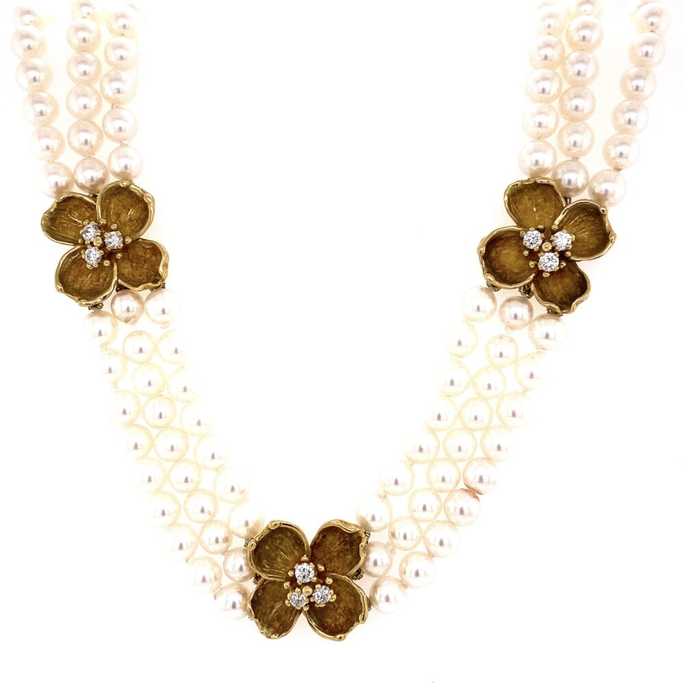"""Image 2 for 18K Yellow Gold TIFFANY & CO Triple Strand Pearls Necklace with Four Flower Diamonds Stations 1.00tcw. 16"""", 5.5mm"""