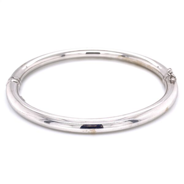 Closeup photo of 14K White Gold Hinged Turkish Bangle 10.8g, s8.5""