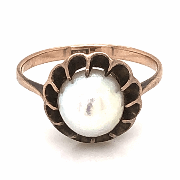 Closeup photo of 9K Yellow Gold Victorian Natural Pearl Ring 2.4g, s6