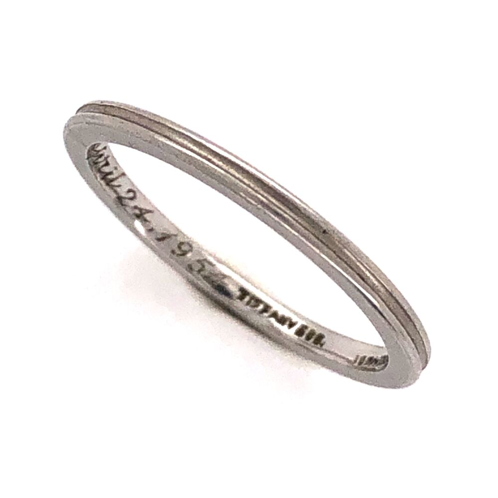 Platinum TIFFANY & CO Double Row Plain Band Ring Engraved c1954, 2.4g, s5.25