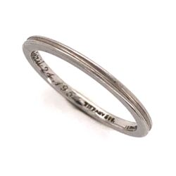Closeup photo of Platinum TIFFANY & CO Double Row Plain Band Ring Engraved c1954, 2.4g, s5.25