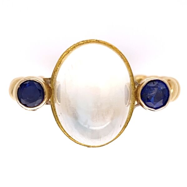 Closeup photo of 18K Yellow Gold Rope Shank 5ct Cabochon Moonstone & .40tcw Sapphire Ring 8.6g, s7