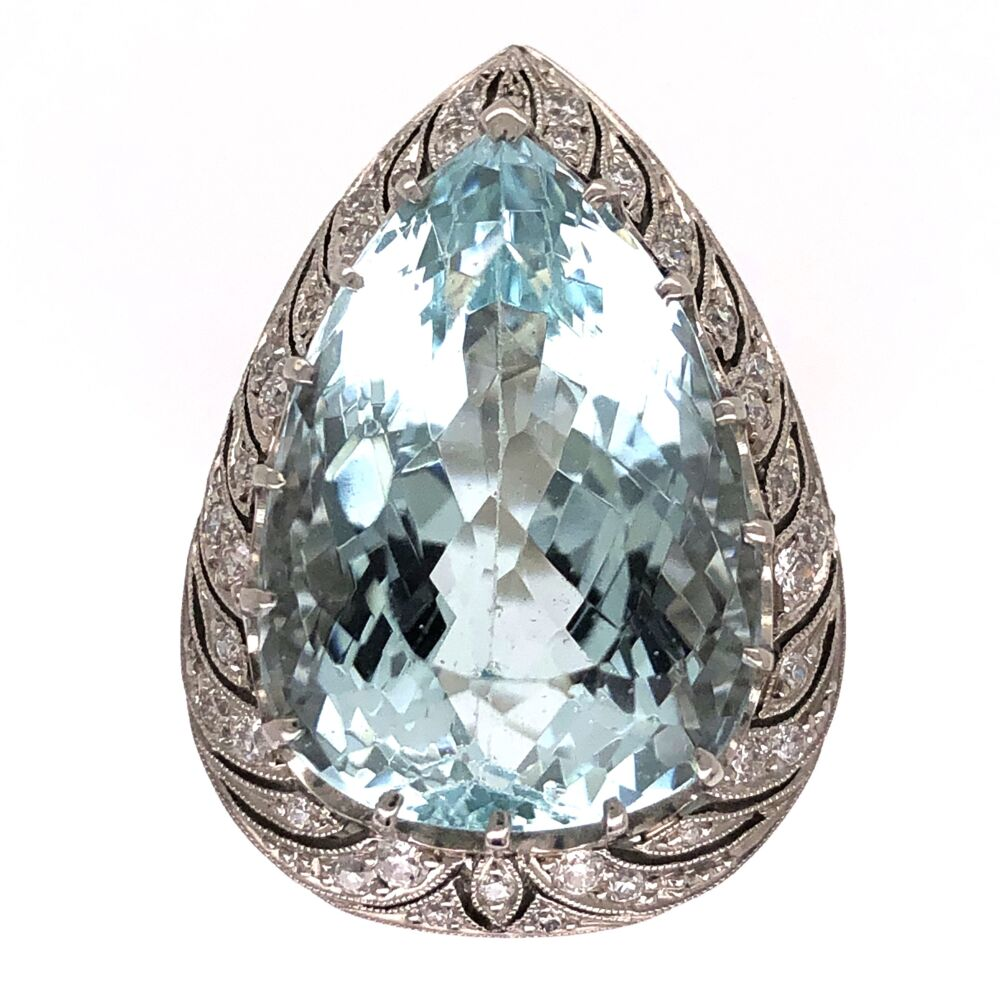 Platinum Art Deco Pear Shape Aquamarine Ring