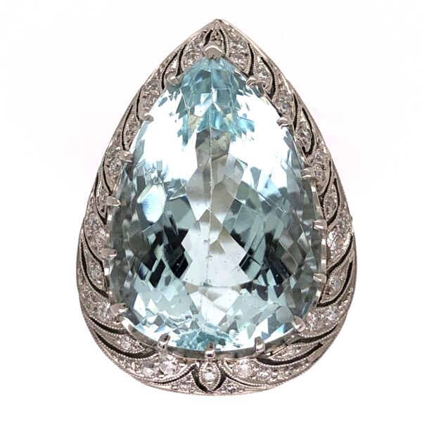 Closeup photo of Platinum Art Deco 17.80ct Pear Shape Aquamarine & .60tcw Ring 15.8g, s7