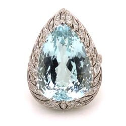 Closeup photo of Platinum Art Deco 17.80ct Pear Shape Aquamarine & .60tcw Ring 15.8g, s7