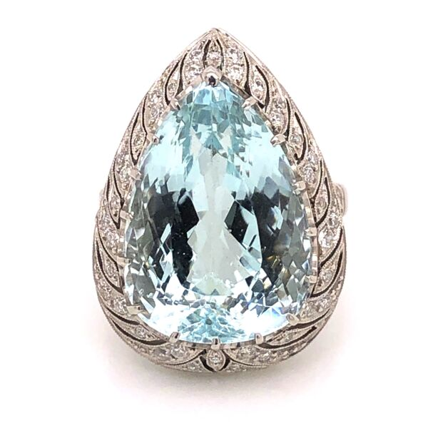 Closeup photo of Platinum Art Deco Pear Shape Aquamarine Ring