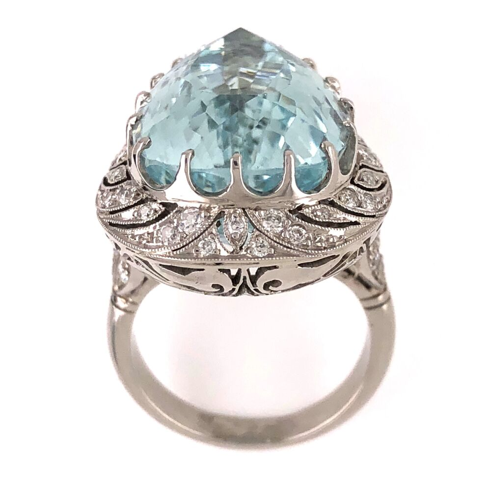 Image 2 for Platinum Art Deco Pear Shape Aquamarine Ring