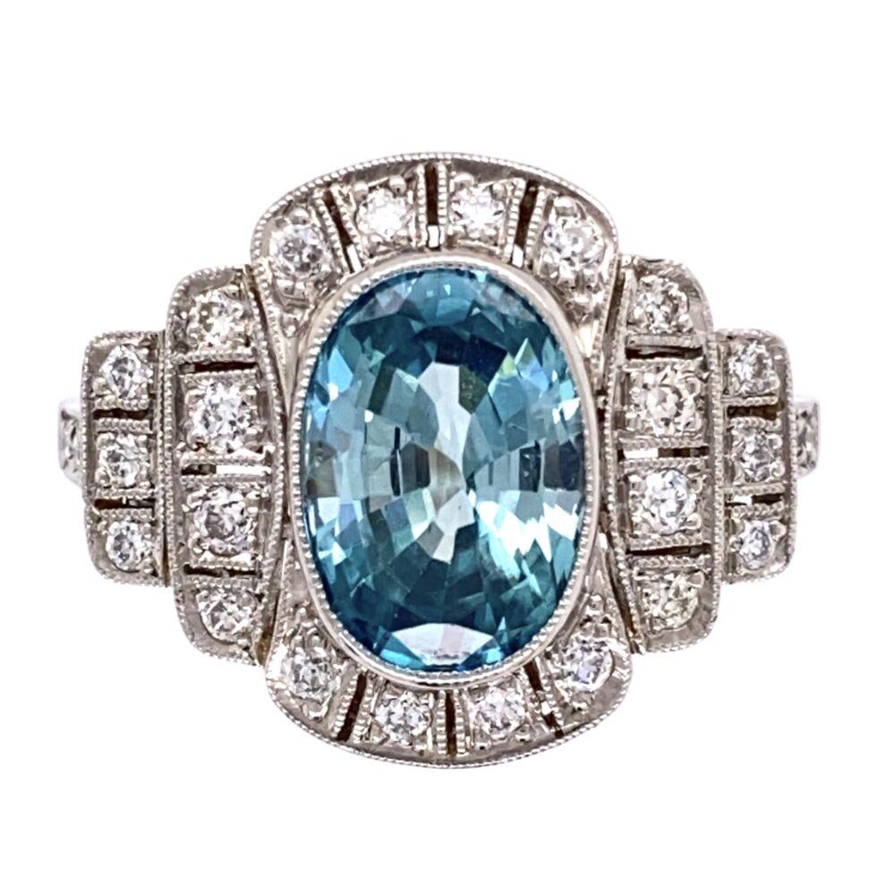 Platinum Art Deco 3.95ct Oval Blue Zircon & .50tcw OEC Diamond Ring 6.8g, s7.25