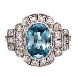 Closeup photo of Platinum Art Deco 3.95ct Oval Blue Zircon & .50tcw OEC Diamond Ring 6.8g, s7.25